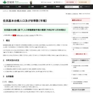 住民基本台帳人口及び世帯数(年報)