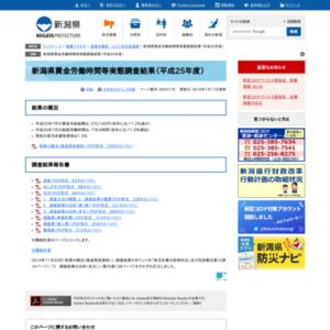 新潟県賃金労働時間等実態調査結果(平成25年度)