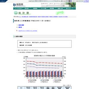 鳥取県人口移動調査結果速報(平成26年11月1日現在)