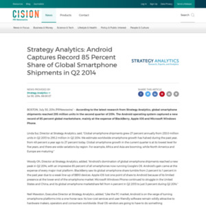 Android Captures Record 85 Percent Share of Global Smartphone Shipments in Q2 2014