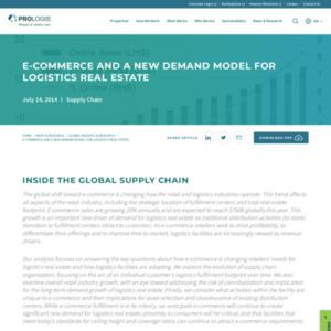 E-commerce and Logistics Real Estate, July 2014
