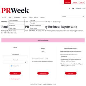 PRWeek Agency Business Report 2017
