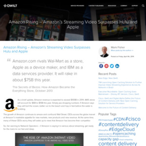 Amazon Rising - Amazon's Streaming Video Surpasses Hulu and Apple