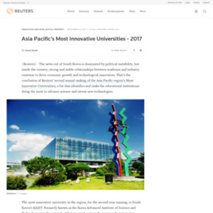 Asia Pacific's Most Innovative Universities - 2017