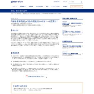 「後継者難倒産」の動向調査(2019年1~9月累計)