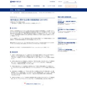 海外進出に関する企業の意識調査(2019年)
