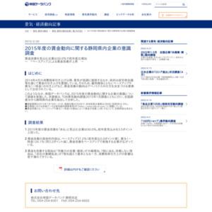 2015年度の賃金動向に関する静岡県内企業の意識調査