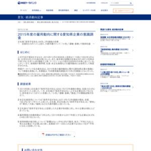 2015年度の雇用動向に関する愛知県企業の意識調査