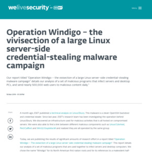 Operation Windigo - the vivisection of a large Linux server-side credential-stealing malware campaign