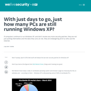 With just days to go, just how many PCs are still running Windows XP?