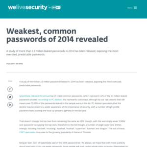 Weakest, common passwords of 2014 revealed