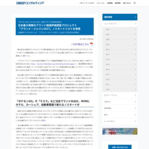 「ブランド・ジャパン2017」ノミネートリスト
