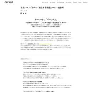 平成ジャンプ世代の「婚活本音調査」-Vol.1- を発表!