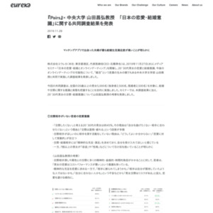 『Pairs』× 中央大学 山田昌弘教授 「日本の恋愛・結婚意識」に関する共同調査結果を発表