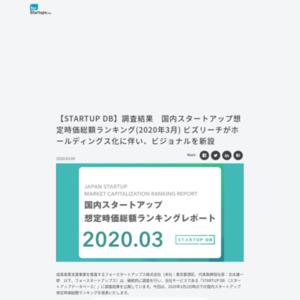 国内スタートアップ想定時価総額ランキング(2020年3月)