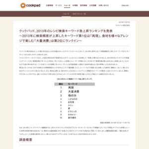 2013年のレシピ検索キーワード急上昇ランキング
