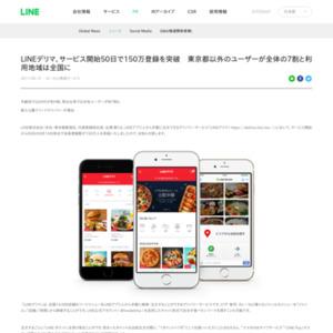 LINEデリマ、サービス開始50日で150万登録を突破 東京都以外のユーザーが全体の7割と利用地域は全国に
