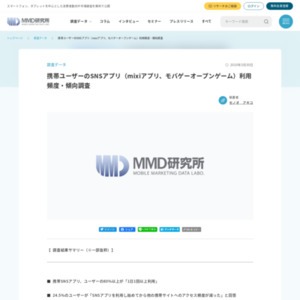 携帯ユーザーのSNSアプリ(mixiアプリ、モバゲーオープンゲーム)利用頻度・傾向調査