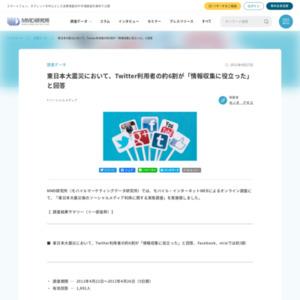 東日本大震災において、Twitter利用者の約6割が「情報収集に役立った」と回答