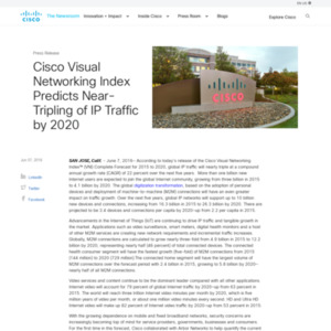 Cisco Visual Networking Index Predicts Near-Tripling of IP Traffic by 2020