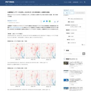 位置情報ビッグデータを活用し、2020年2月・3月の東京都内 人流解析を実施