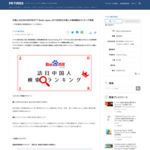 2018年訪日中国人の検索動向ランキング