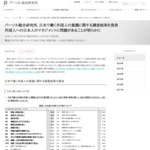 パーソル総合研究所、日本で働く外国人の意識に関する調査結果を発表