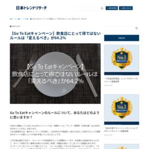 【Go To Eatキャンペーン】飲食店にとって得ではないルールは「変えるべき」が64.2%