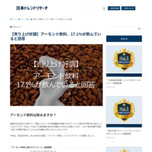 【売り上げ好調】アーモンド飲料、17.1%が飲んでいると回答