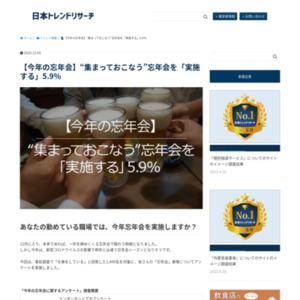 """【今年の忘年会】""""集まっておこなう""""忘年会を「実施する」5.9%"""