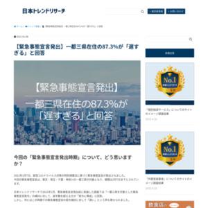 【緊急事態宣言発出】一都三県在住の87.3%が「遅すぎる」と回答