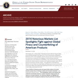 2016 Notorious Markets List