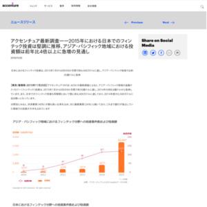 2015年における日本でのフィンテック投資は堅調に推移、アジア・パシフィック地域における投資額は前年比4倍以上に急増の見通し