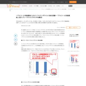 アルコール系除菌剤によるインフルエンザウイルス除去試験