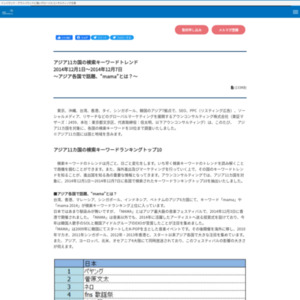 アジア11カ国の検索キーワードトレンド2014年12月1日~2014年12月7日