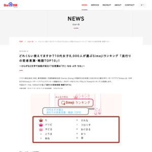 Simejiランキング 「流行りの若者言葉・略語TOP10」