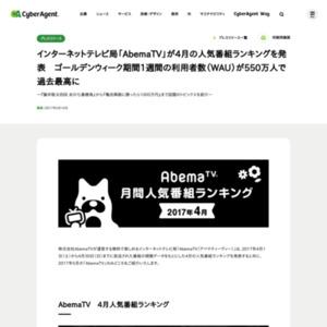 「AbemaTV」4月の人気番組ランキング