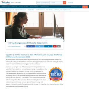 100 Top Companies with Remote Jobs in 2016