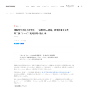 博報堂生活総合研究所「消費1万人調査」調査結果 第二弾 「サービス利用実態・意向」編