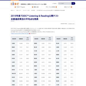 2019年度TOEIC Listening & Reading公開テスト 全都道府県別の平均点を発表