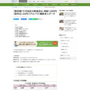千代田区の飲食店は、時給1,089円(前年比+34円)!アルバイト最新求人データ
