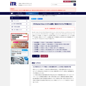 ITR Market View:システム連携/統合ミドルウェア市場2015