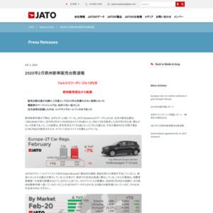 JATO 2020年2月欧州新車販売台数速報
