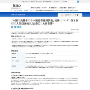 「中国の消費者の日本製品等意識調査」‐日本旅行の人気回復続き、越境ECにも好影響‐