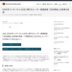 2020年インターネット広告に関するユーザー意識調査 「定性調査」の結果を発表
