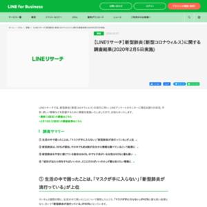 【LINEリサーチ】新型肺炎(新型コロナウィルス)に関する調査結果(2020年2月5日実施)