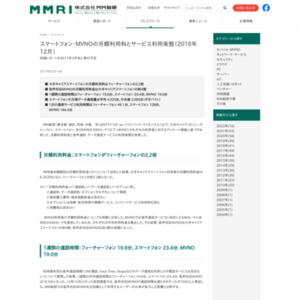 スマートフォン・MVNOの月額利用料とサービス利用実態(2016年12月)