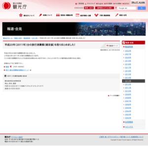 平成23年(2011年)分の旅行消費額(確定値)