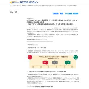NTTコム オンライン、動画配信サービス業界を対象にしたNPS?ベンチマーク調査2019の結果を発表