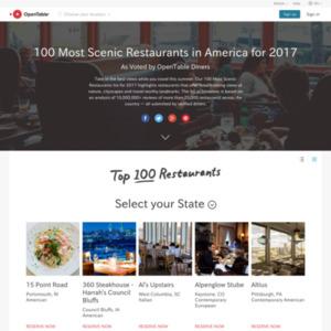 100 Most Scenic Restaurants in America for 2017